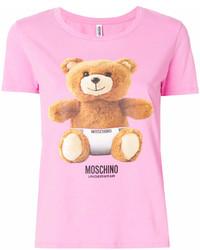 fuchsia bedrucktes T-Shirt mit einem Rundhalsausschnitt von Moschino