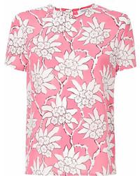 fuchsia bedrucktes T-Shirt mit einem Rundhalsausschnitt von Valentino