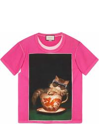 fuchsia bedrucktes T-Shirt mit einem Rundhalsausschnitt von Gucci