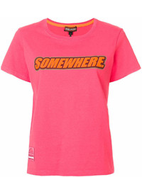 fuchsia bedrucktes T-Shirt mit einem Rundhalsausschnitt von Marc Jacobs