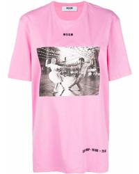 fuchsia bedrucktes T-Shirt mit einem Rundhalsausschnitt von MSGM