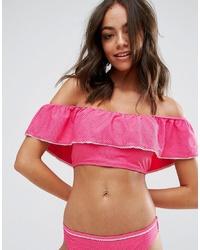 fuchsia Bikinioberteil mit Rüschen von Vero Moda