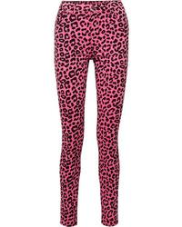 fuchsia enge Jeans mit Leopardenmuster von Gucci