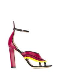fuchsia Fransen Leder Sandaletten von Paula Cademartori