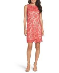 fuchsia gerade geschnittenes Kleid aus Spitze