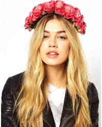 fuchsia Haarband mit Blumenmuster von Rock 'N' Rose