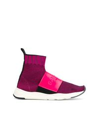 fuchsia hohe Sneakers von Balmain