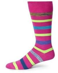 fuchsia horizontal gestreifte Socken