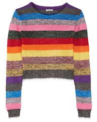fuchsia horizontal gestreifter kurzer Pullover von Miu Miu