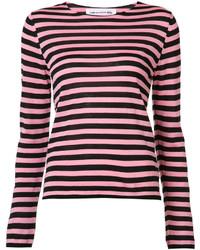 fuchsia horizontal gestreifter Pullover mit einem Rundhalsausschnitt