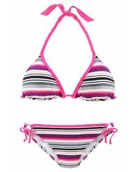 fuchsia horizontal gestreiftes Bikinioberteil von Venice Beach