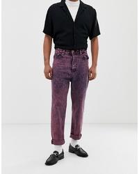fuchsia Jeans mit Acid-Waschung von ASOS DESIGN