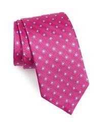 fuchsia Krawatte mit Blumenmuster
