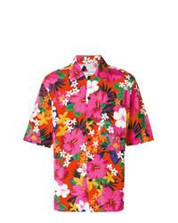 fuchsia Kurzarmhemd mit Blumenmuster