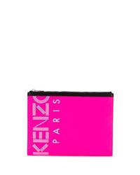 fuchsia Leder Clutch Handtasche von Kenzo