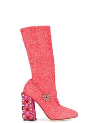 fuchsia Leder mittelalte Stiefel von Dolce & Gabbana