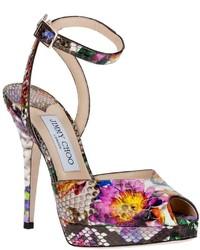 fuchsia Leder Sandaletten mit Blumenmuster
