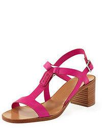 fuchsia Leder Sandaletten