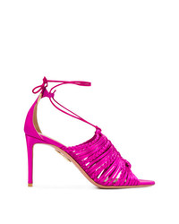 fuchsia Leder Sandaletten von Aquazzura