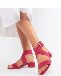 fuchsia Leder Sandaletten von ASOS DESIGN