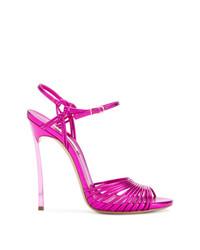 fuchsia Leder Sandaletten von Casadei