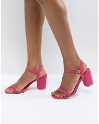 fuchsia Leder Sandaletten von Glamorous