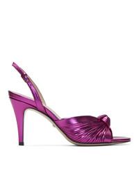 fuchsia Leder Sandaletten von Gucci