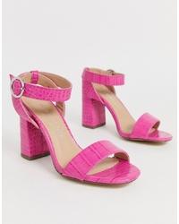 fuchsia Leder Sandaletten von New Look