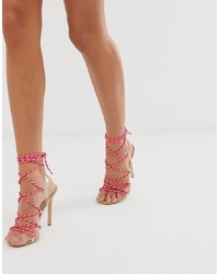 fuchsia Leder Sandaletten von Public Desire