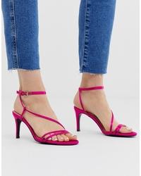 fuchsia Leder Sandaletten von Stradivarius