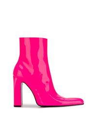 fuchsia Leder Stiefeletten von Balenciaga
