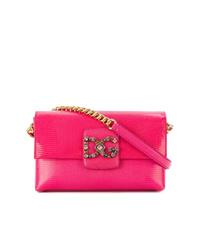 fuchsia Leder Umhängetasche von Dolce & Gabbana