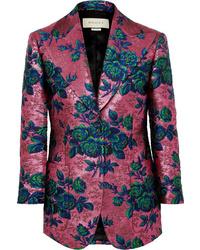 fuchsia Sakko aus Brokat mit Blumenmuster von Gucci
