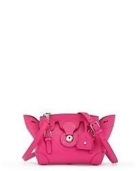 fuchsia Satchel-Tasche aus Leder