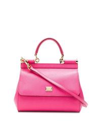 fuchsia Satchel-Tasche aus Leder von Dolce & Gabbana