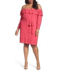 fuchsia schulterfreies Kleid
