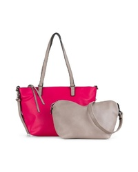fuchsia Shopper Tasche aus Leder von EMILY & NOAH