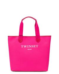 fuchsia Shopper Tasche aus Leder von Twin-Set