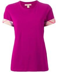 fuchsia T-Shirt mit einem Rundhalsausschnitt von Burberry