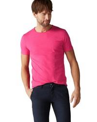 fuchsia T-Shirt mit einem Rundhalsausschnitt von Marc O'Polo