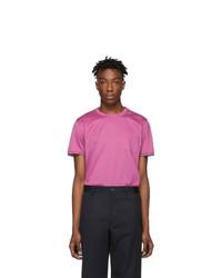 fuchsia T-Shirt mit einem Rundhalsausschnitt von Moncler