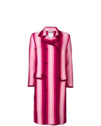 fuchsia vertikal gestreifter Mantel von Moschino