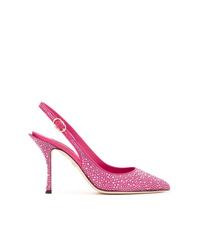 fuchsia verzierte Leder Pumps von Dolce & Gabbana