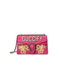 fuchsia verzierte Leder Umhängetasche von Gucci