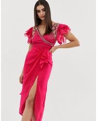 fuchsia verziertes Wickelkleid von Virgos Lounge