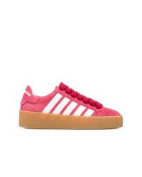 fuchsia Wildleder niedrige Sneakers von Dsquared2