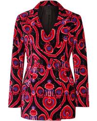 fuchsia Zweireiher-Sakko aus Samt mit Paisley-Muster von Anna Sui