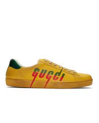 gelbe bedruckte Leder niedrige Sneakers von Gucci