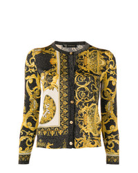 gelbe bedruckte Strickjacke von Versace