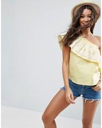 gelbe bestickte Bluse von Asos
